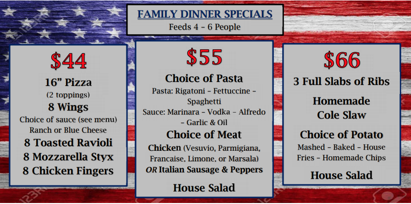 Take Out Specials